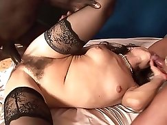 Asian hairy Milf gets her pussy plowed and her mouth fucked