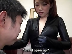 Beautiful japanese chick eating cock