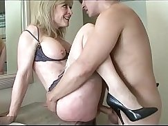 Blonde mom and son firstscum eating first couple