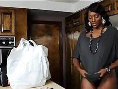 Ebony MILF Alexis Adams plays with her son