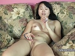 Asian beauty with nice little tits dildo licking pussy
