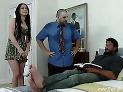 Avid husband making love with wife while an younger men is eating dick