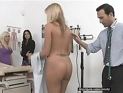 Big boobed nurse gets her tits sucked in MMF threesome