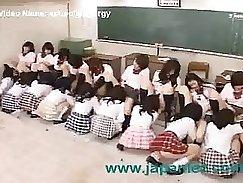 Beautiful lesbian schoolgirls in orgy fucking