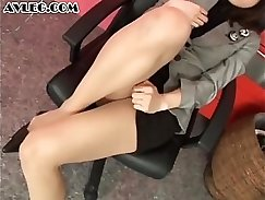 Asian maid in stockings and San fucks her boss
