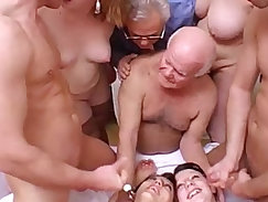 Crazy orgy session with grandpa in a dirty and perverse family!