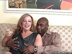 Black milf sucks on his cock before hot fucking