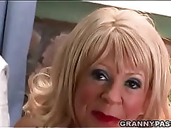 Anal job from a busty granny lady