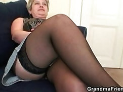 Naughty old granny takes two cocks