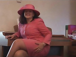 Busty hairy mature in slip and open girdle spreading