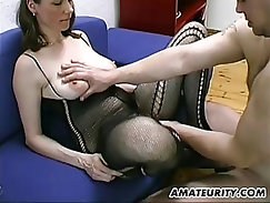 Busty hairy Milf blowjob, titjob with cum on tits