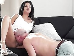 Adrianna is lusty on sofa, and and she s gonna suck a fat dick
