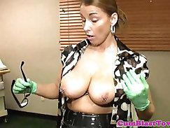 Cumblasted milf nurse with big pierced boobs