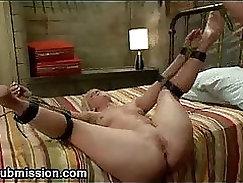 Cute blonde blowjob bondage feet hot drools