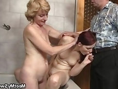 His old dad plows her pussy after mom licked it