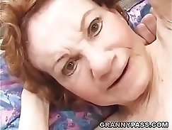 Brunette granny getting her pussy toyed