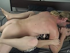 Horny mom gives her s son and makes him lick hard cock