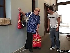 Busty Granny Barebacks Riding Her Young Lover